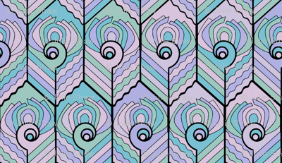 Art Deco Peacock - Pastel
