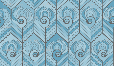Art Deco Peacock - Forget-me-not