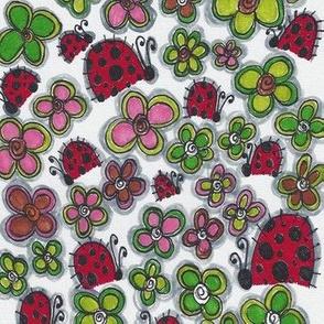 dotty doodle 'ladybirds & flowers'