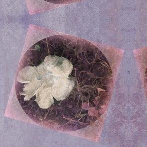 Distressed Fungi Floral Purple Block
