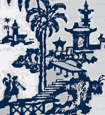 Escher pagoda blue