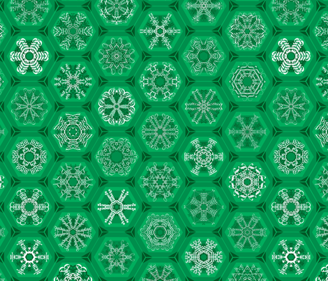 green snowflake mini-ornaments fabric by weavingmajor on Spoonflower - custom fabric