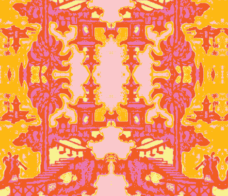 Escher pagoda trendy tangerine fabric by kerrysteele on Spoonflower - custom fabric