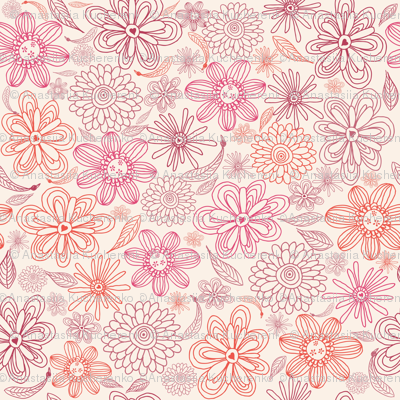 pink and purple flowers in vector