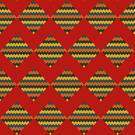 Chevron and Diamonds brick red fabric by oceanpeg on Spoonflower - custom fabric