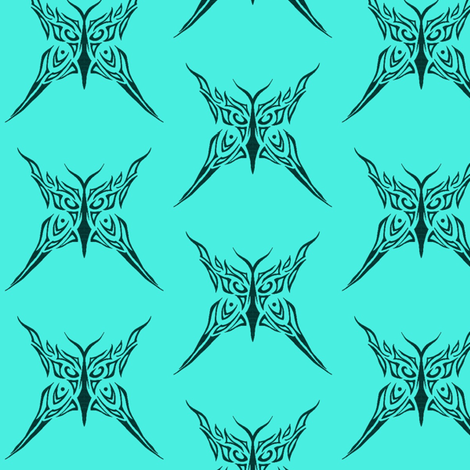 Tribal Butterfly (aqua) fabric by ladyleigh on Spoonflower - custom fabric