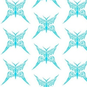 Tribal Butterfly (turquoise and white)