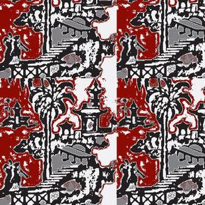 Escher pagoda red graphite