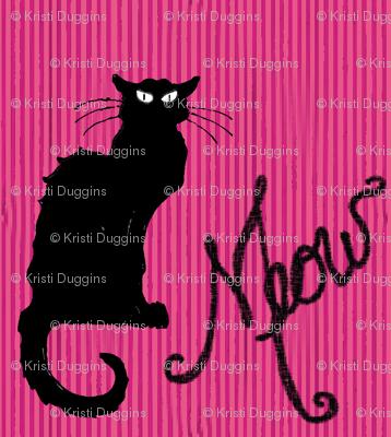 Le Chat Noir Black Cat on Pink Stripe