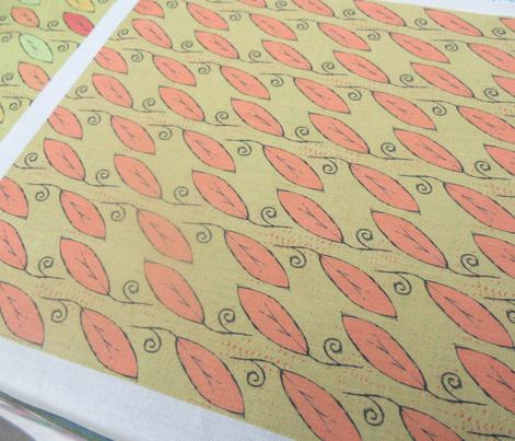 Leaf Pattern, Coral & Khaki