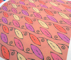 Leaf Pattern, Pink & Red Mix