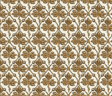 Elizabeth I. Phoenix Portrait Fabric- Cream/Gold - With Pearls fabric by bonnie_phantasm on Spoonflower - custom fabric