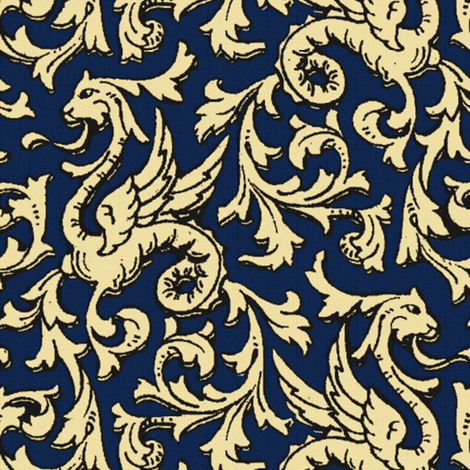 Here There Be Dragons ~ Navy & Gold fabric by peacoquettedesigns on Spoonflower - custom fabric