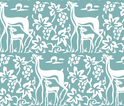 Arts & Crafts deer & grapes - close - vector - white on bluegreen182 -replace fabric by mina on Spoonflower - custom fabric