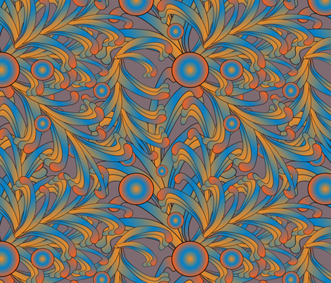 psychedelic Art Nouveau 2 fabric by kociara on Spoonflower - custom fabric