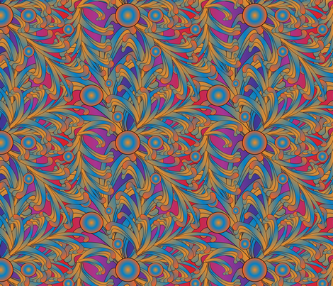 psychedelic Art Nouveau 5 fabric by kociara on Spoonflower - custom fabric