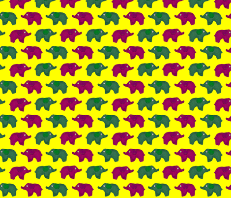 Bed Time Elephants Yellow fabric by lawnmoyer on Spoonflower - custom fabric