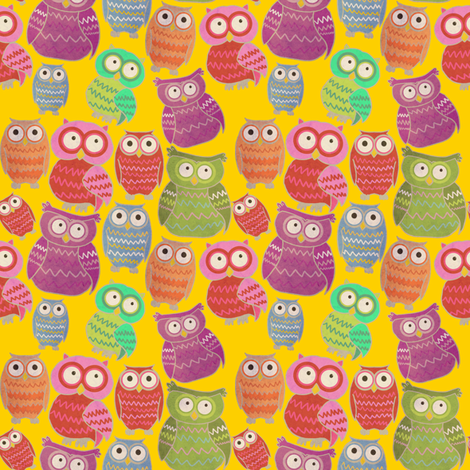 Bright Owls fabric by lusykoror on Spoonflower - custom fabric