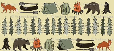 camping // khaki campsite campfire trees woodland bear fox kids outdoors illustration for boys room