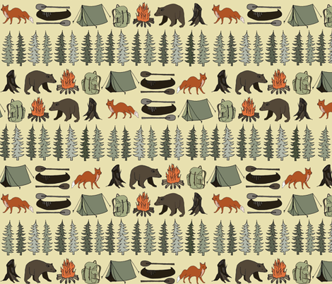 camping // khaki campsite campfire trees woodland bear fox kids outdoors illustration for boys room fabric by andrea_lauren on Spoonflower - custom fabric