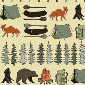 camping // khaki campsite campfire trees woodland bear fox kids outdoors illustration for boys room