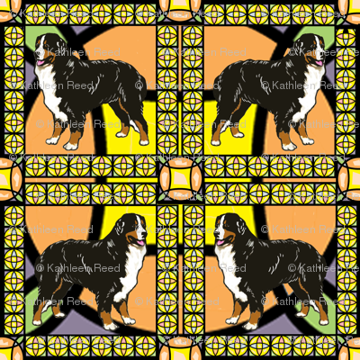 Bernese Mountain Dog frame fabric