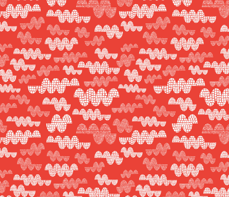 Big Clouds  - Tomato fabric by iheartlinen on Spoonflower - custom fabric