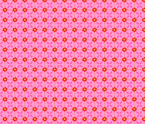 Zig Zag Pet Party flower grid 3 fabric by bzbdesigner on Spoonflower - custom fabric