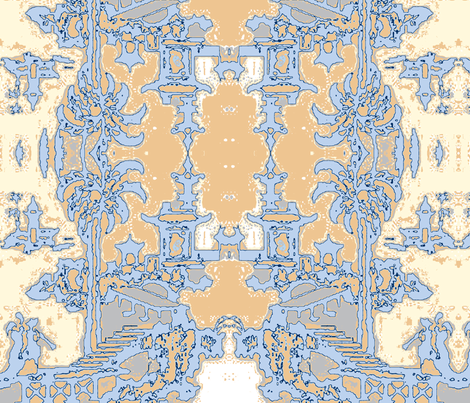 Escher pagoda bedroom blue & beige fabric by kerrysteele on Spoonflower - custom fabric