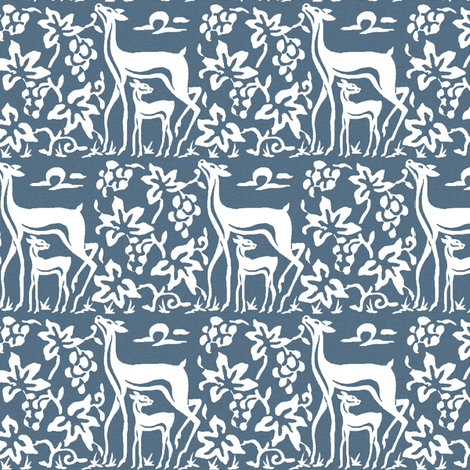 Arts & Crafts deer and grapes overlap - white on textured INDIGO206 fabric by mina on Spoonflower - custom fabric