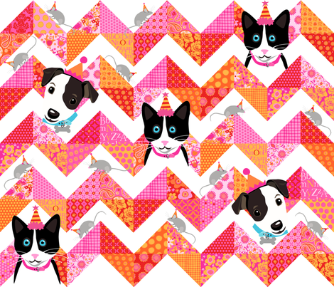 While the Quilter is Away the Pets will Play fabric by bzbdesigner on Spoonflower - custom fabric