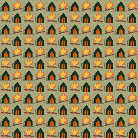 Tent & Campfire fabric by taramcgowan on Spoonflower - custom fabric