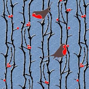 Robins in Branches - Denim