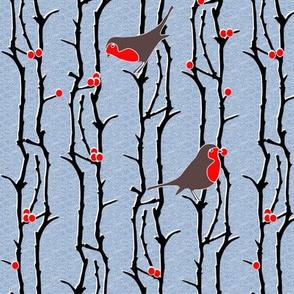 Robins in Branches - Light Denim