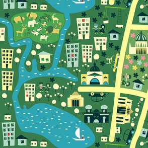 seamless cartoon map of melbourne australia