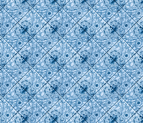 Delft Blue glazed tiles fabric by unseen_gallery_fabrics on Spoonflower - custom fabric