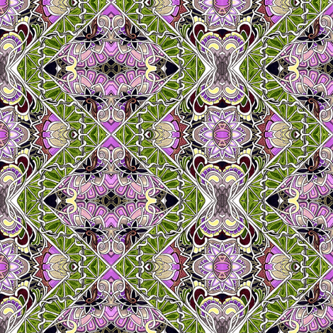 Patchwork Gardening in green and violet fabric by edsel2084 on Spoonflower - custom fabric
