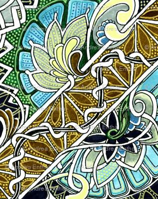 Windblown Paisley Floral Blocks