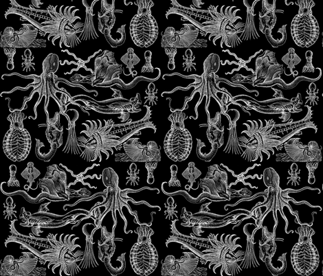 Antique Horrors of the Deep (Inverted) fabric by jenithea on Spoonflower - custom fabric