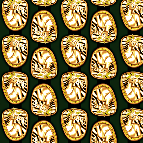 ©2011 virgo gold and periodot on green fabric by glimmericks on Spoonflower - custom fabric