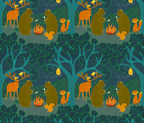 Do bears camp in the moonlit forest? fabric by vo_aka_virginiao on Spoonflower - custom fabric