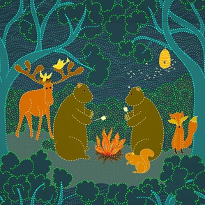 Do bears camp in the moonlit forest?