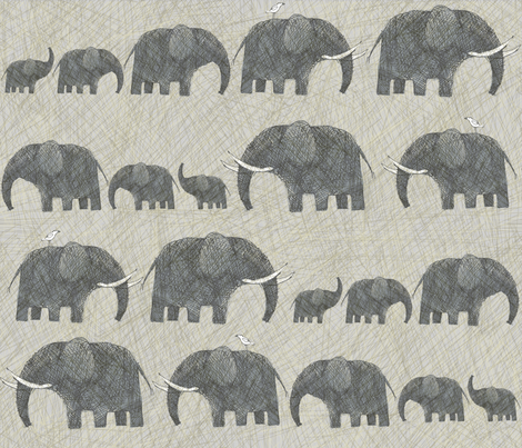 AMBOSELI  KENYA ELEPHANT PARADE fabric by bzbdesigner on Spoonflower - custom fabric
