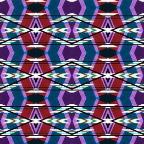 Petrol Blue and Venetian Red African Pattern