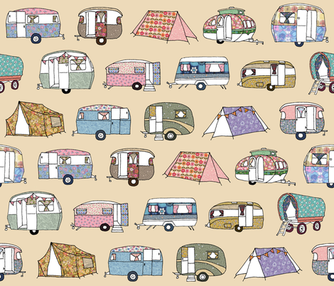 Vintage_Camping_FQcream fabric by peppermintpatty on Spoonflower - custom fabric