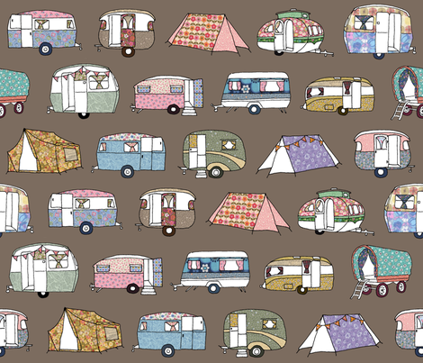 Vintage_Camping_FQbrown fabric by peppermintpatty on Spoonflower - custom fabric