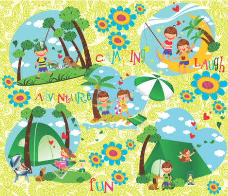 CAMPY CAMPING! fabric by deeniespoonflower on Spoonflower - custom fabric