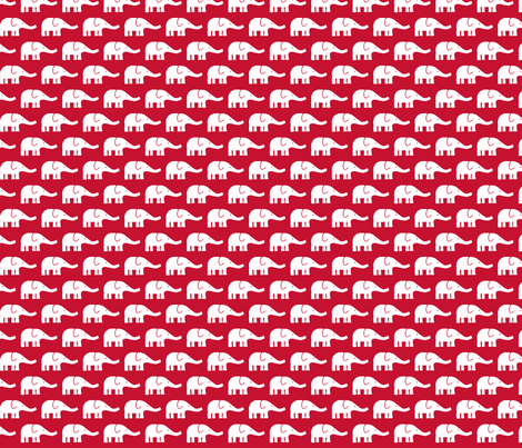 SMALL Elephants in real red fabric by katharinahirsch on Spoonflower - custom fabric