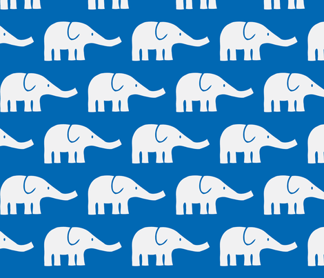 LARGE Elephants in blue-ch fabric by katharinahirsch on Spoonflower - custom fabric
