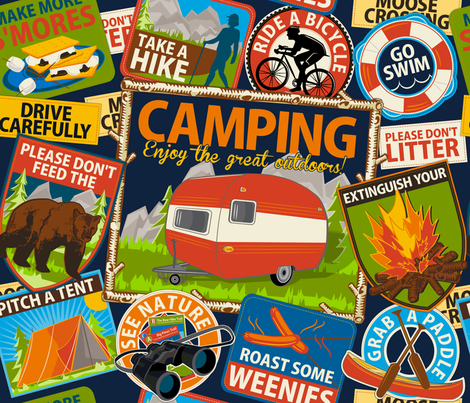 The Do's and Don'ts of Camping ~ Navy fabric by retrorudolphs on Spoonflower - custom fabric